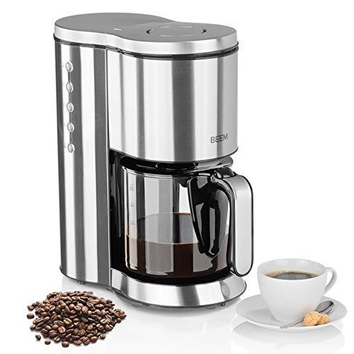 BEEM Filterkaffeemaschine Edelstahl - Glas | BASIC SELECTION | Kaffeemaschine | 1,25 l Glaskanne | 1250 W | Smarte Bedienung | Warmhaltefunktion | 10 Tassen Kaffee | Permanentfilter | Modernes Design