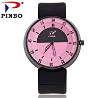 Souarts Womens Black Silicone Band Strap Pink Dial Quartz Analog Sport Wrist Watch 24cm