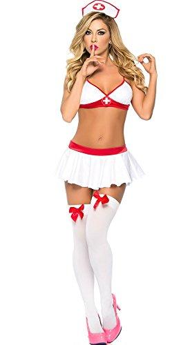 W-Play traumhaftes Cosplay Kostüme Costüme Reizwäsche für Damen Süße Sex Krankenschwester Stil Halloween Weihnachten Show Rollenspiel Kleidung