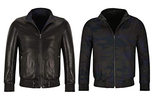 Smart Range Leather Reversible Lederjacke Herren Premium Lammfell Napa Reverse to Fabric Jacket (S)