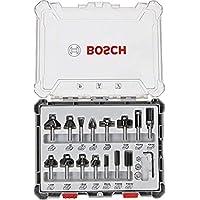Bosch Professional 2607017472 - Set da 15 pezzi Set di frese (per legno, per frese verticali con stelo da 8 mm)