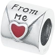 Abalorio de plata de ley 925 envejecida, esmalte rojo, letra de amor, para pulseras de abalorios europeas.