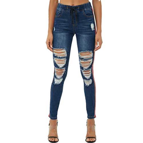 Denim-gestreifte Strumpfhose (ZYUEER Damen Hosen Elegant Freizeithosen Yogahosen Frauen Broken Straight Gestreifte Jeans Mit SchnüRung Leggings)
