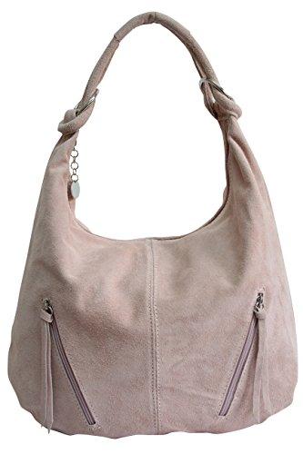 Damen Ledertasche Shopper Wildleder Handtasche Schultertasche Beuteltasche Hobo Tasche Groß WL822 (Altrosa)