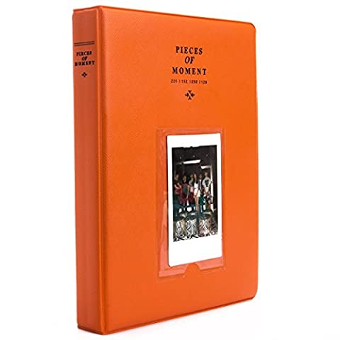 [Fujifilm Instax Mini Photo Album] Woodmin 128 Poches Album photo pour Fuji Instantané Mini 70 7s 8 25 50 90, Polaroid Z2300, Polaroid PIC-300P Film (Orange)