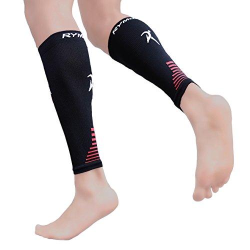 Fasce di compressione per polpacci (compressione graduata, unisex per uomo e donna) di Rymora Sport, Black (One Pair), L