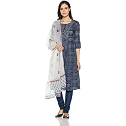 BIBA Women's Straight Salwar Suit (SKD5048_blue_46)
