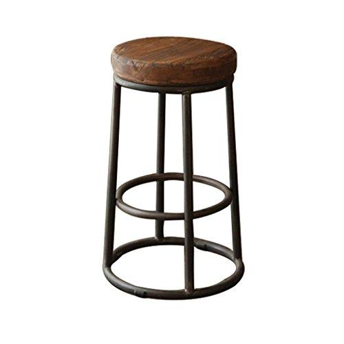 Zaixi Runden 5cm Dicke Stuhloberfläche Massivholz Barhocker Retro Mach Das Alte Eisen Barhocker Kaffeestuhl Empfangsstühle Bar Restaurant Barhocker ( größe : 36*36*55cm - Eisen Barhocker