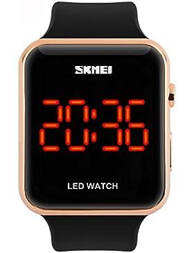 Amstt Sportuhren Herren Damen Sportuhr Wasserdichte LED-Digital Uhr Unisex Armbanduhr Schwarzuhr Jungen Kinder...