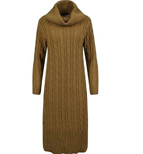 Generic - Robe - Plissée - Manches Longues - Femme Camel
