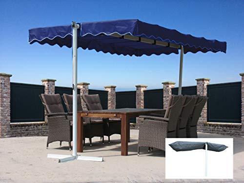 Quick-Star Ziehharmonika-Markise Dubai Blau mit Schutzhülle Grau