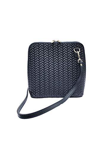L&Lorenzo Lilly kleine Umhängetasche für Damen aus Italienischem Echtleder, Hochwertig verarbeitet, Stylische Bag für jeden Anlass (Blau Geflochten)