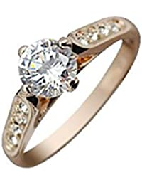 18K Rose Gold Plated, 4 Prong Set, 1ct 6MM Clear Round Cut CZ Diamond and 8 Austrian Crystals, Band Ring, 3.0GMS