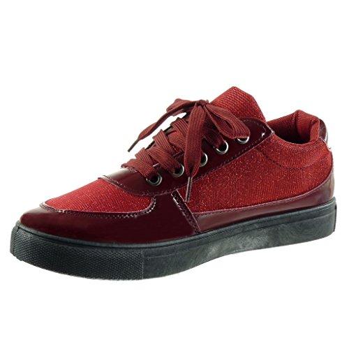 Angkorly Damen Schuhe Sneaker - Bi-Material - Tennis - Glänzende Flache Ferse 2.5 cm Rot