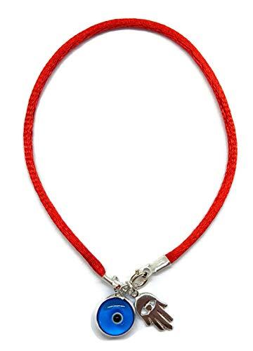 Mystic Jewels By Dalia - Pulsera Hilo Rojo para Suerte - Ojo Turco en Azul y Mano de Fatima Hamsa - Plata de Ley 925