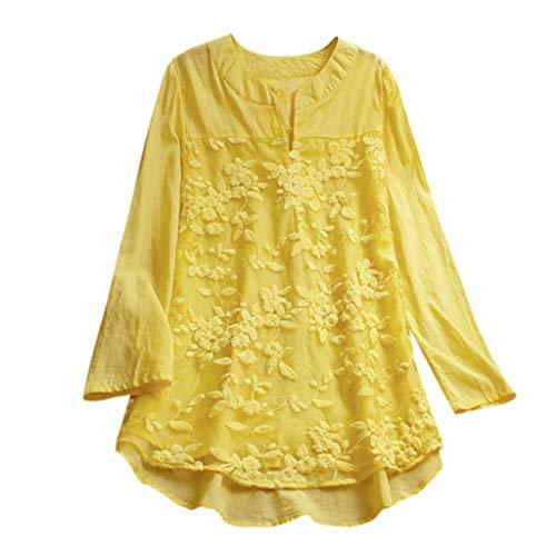 Mantel Lässig Mode Jacke Frauen Frauen mit Langen Ärmeln Vintage Floral Print Patchwork Bluse Spitze Splicing Tops(Gelb-b, XL) ()