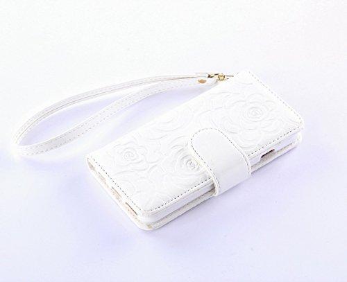 Pour iPhone 5C Coque, iNenk® Retro Une fleur Modèle Téléphone Coque PU Cuir Portefeuille Carte Chaîne Téléphone Coque Housse protection-Bleu blanc