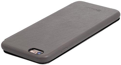 StilGut Book Type Case, Hülle Leder-Tasche für iPhone 6 Plus und iPhone 6s Plus. Seitlich klappbares Flip-Case aus Echtleder für das Original iPhone 6 Plus und iPhone 6s Plus (5,5 Zoll), Rot Nappa Grau Nappa