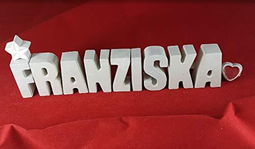 Beton, Steinguss Buchstaben 3D Deko Namen FRANZISKA mit Stern und Herzklammer als Geschenk verpackt! Ein ausgefallenes Geschenk zur Geburt, Taufe, Geburtstag oder auch zu anderen Anlässen. 1