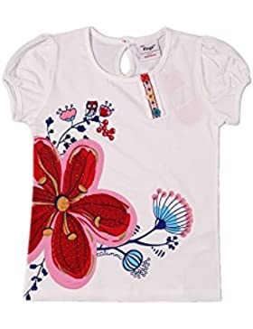 Flags - Mädchen Kurzarm T-Shirt mit Eule und großen Blumen Druck