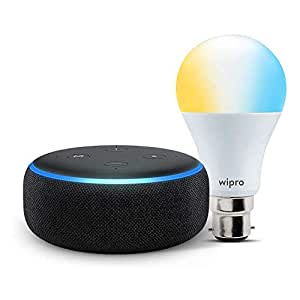 Echo Dot (Black) bundle with Wipro 9W smart white bulb