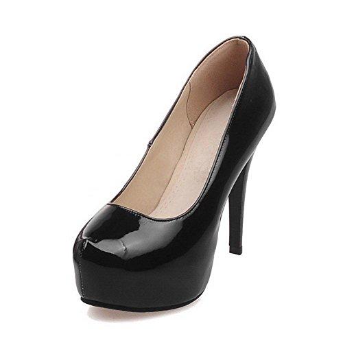 Damen Lackleder Rein Ziehen auf Hoher Absatz Pumps Schuhe, Schwarz, 37 AgooLar