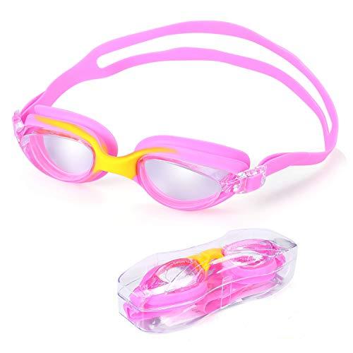 Schwimmbrille Kinder Schwimmbrille Swim Goggles Kids für Junior Jungen Mädchen lecksicher, rutschfest, wasserdicht (UV-Schutz, Anti-Fog, Harte Gläser, Linsen/Clear Lens) rosa