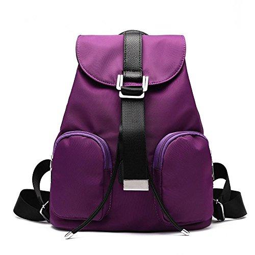 HQYSS Borse donna Sezione verticale Casual coreano tinta unita Nylon goffrato femmina zaino leggero impermeabile Tote Bag , blue purple