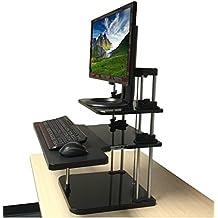 ERGONEER Sit-supporto da tavolo Converter per monitor e computer portatile - regolabile in altezza ergonomica desktop Riser con la tastiera vassoio a diapositiva In / Out - In piedi Desk leggero per una facile mobilità (2-Livello) (3 livelli)