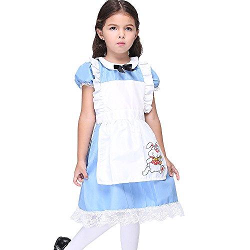 Uleade Kinder Mädchen Fancy Halloween Lolita Maid Kleid Kostüm Cosplay Outfit mit Schürze Blau