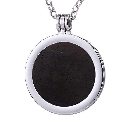 Morella Damen Halskette 70 cm Edelstahl und Anhänger mit Edelstein schwarzer Opsidian Coin 33 mm Chakren Scheibe in Schmuckbeutel