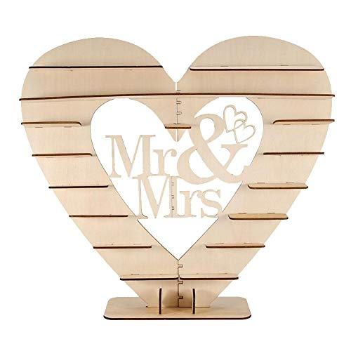FTVOGUE Schokolade Display Halter Herzförmige Holz Candy Snacks Dessert DIY Dekorieren Ausstellungsstand Regal für Hochzeit Geburtstagsparty(#2 Mr&Mrs)