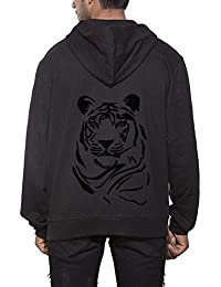 Clifton Men's Printed Sweat Shirt With Hood -Black-Tiger Face-B