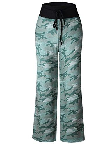 Junshan Pantalons Femmes tailles elastiques floral imprimé décontracté bandage pantalons d'impression lâche Confortable Mode Casual Vert