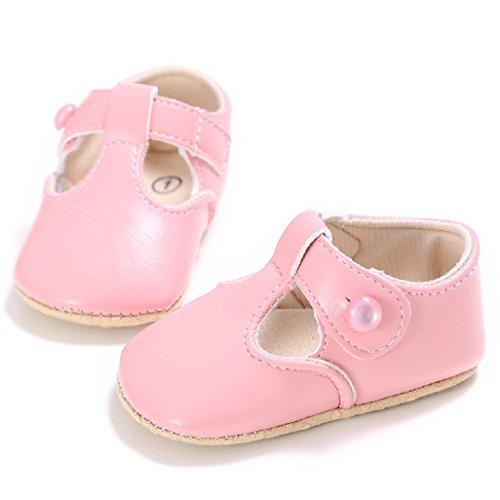 Chaussures de bébé Auxma Semelle souple pour bébé chaussures antidérapantes Premières chaussures de randonnée Chaussures princesse Pour 0-18 mois (13 12-18 M, Blanc) Rose