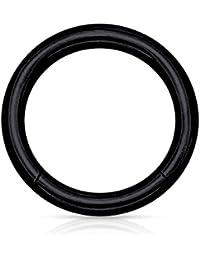 eeddoo SEGMENTRING PIERCING schwarz 53 GRÖSSEN/von 1,2 bis 6,0 mm STÄRKE großer Piercing Ring aus EDELSTAHL - für Nasen-, Septum-, Brust-, Intimpiercings - Segment entnehmbar - Closure Ring