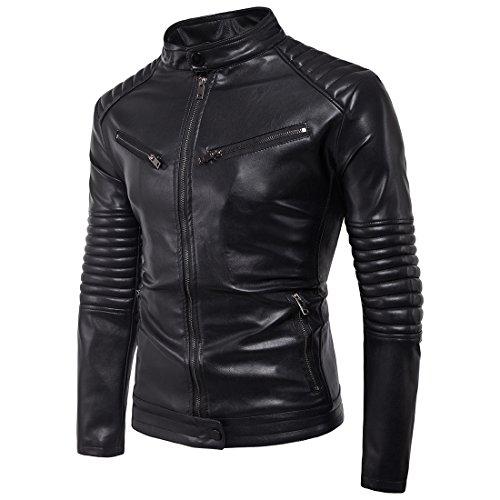 Ghope Herren Biker-Jacke Kunst-Leder Winter Mantel Strickjacke Outwear (EU M/Asia 2XL, Schwarz 2)