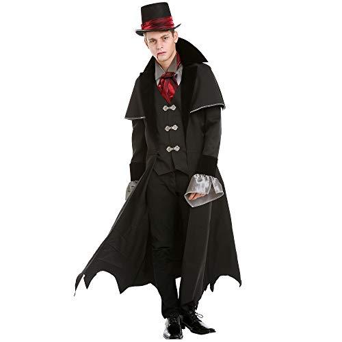Boo Inc. Vampir-Kostüm für Herren, viktorianisches Vampir-Kostüm für Männer, verängstigend, klassisches Dracula-Kostüm - Schwarz - (Van Helsing Kostüm Für Erwachsene)