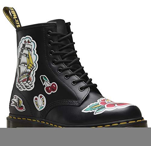 Dr. Martens Womens 1460 Chris 8-Eyelet Black Multi Leather Boots 38 EU (Tätowierung-design-bücher)