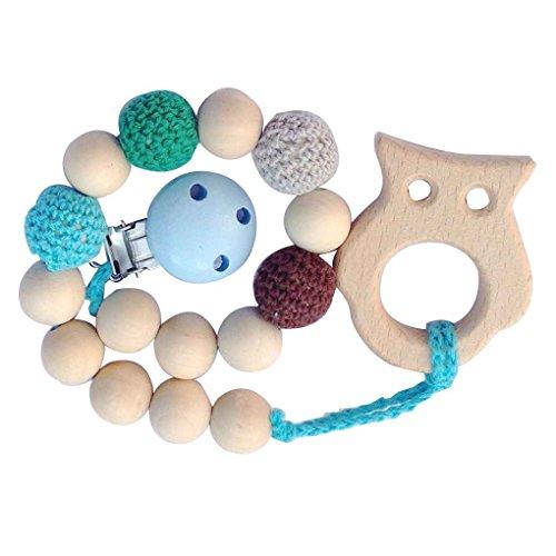 Baby natürliche hölzerne Schnuller Clips Halter Kette handgemachte häkeln Perlen mit hölzernen Beißring Minzhi