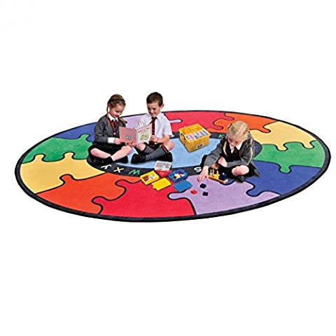 Childrens Abc Round Rainbow Puzzle Learning Rug