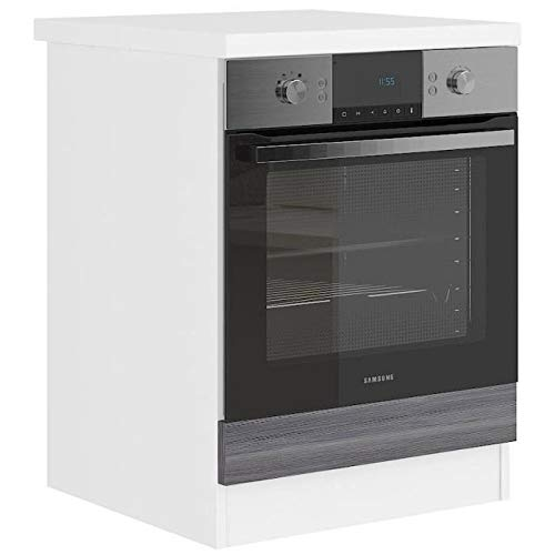 Unbekannt Ultra Ofenschrank mit Arbeitsplatte L 60 cm – Dekor Eiche grau und Dekor weiß Laminat