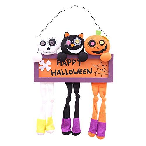 Glücklicher Halloween-Kürbis Hängende Türen verziert mit Geist-Party-Lieferungen von Plüschpuppen Hanging Ornament Rasen-Garten-Yard Garten Halloween, A