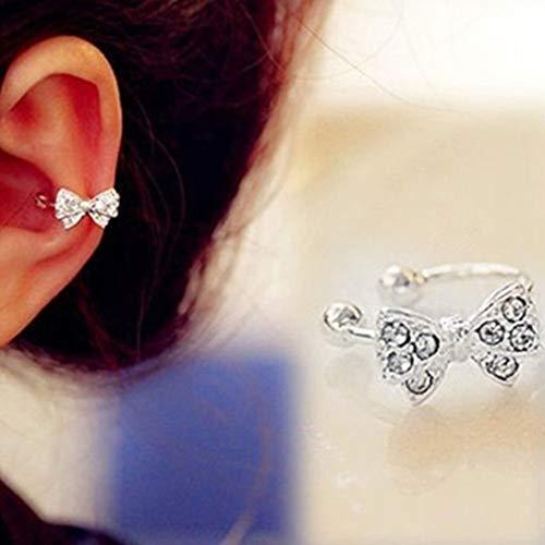 beautijiam 1Korea Schleife Strass Kristall Lady Ohr Knochen Clip Ohrring Keine Pierced