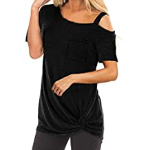 Luckycat Camisetas Sin Hombros para Mujer, Verano Camisa Sudaderas Blusa Color sólido T-Shirt