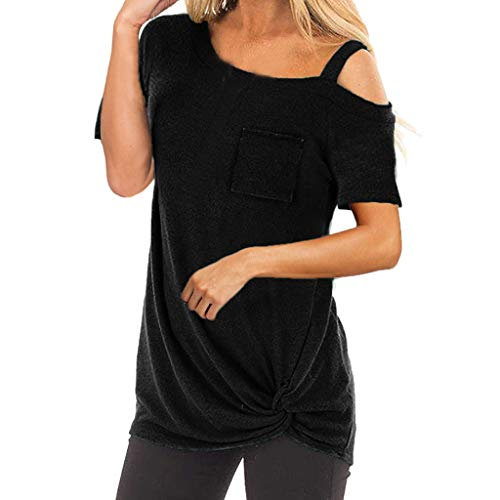 JYJM Frauen Mode Bluse Damen Kurzarm Reine Farbe Top Fashion T Shirt Damen Pullover Patchwork Rundhals Sweatshirt Einfarbige Tunika Top mit Tasche Damen Top Damen V-Ausschnitt ()