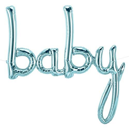 Northstar Balloons - Luftballon BABY Schriftzug in Pastellblau - XXL Folienballons für Luft als Geschenk zur Geburt, Baby-Shower-Party Deko oder Überraschung (Pastellblau)