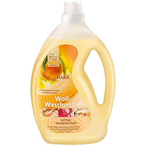 HAKA Wollwaschmittel I 2 Liter I Flüssigwaschmittel für Wolle und Feines I 66 Wäschen I Umweltfreundliches Woll-Waschmittel mit Weich-Pfleger -