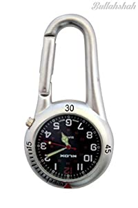 White Silver Clip on Carabiner FOB Watch with Black Dial Ideal for Doctors Nurses Paramedics Chefs by Bullahshah Traders Ltd