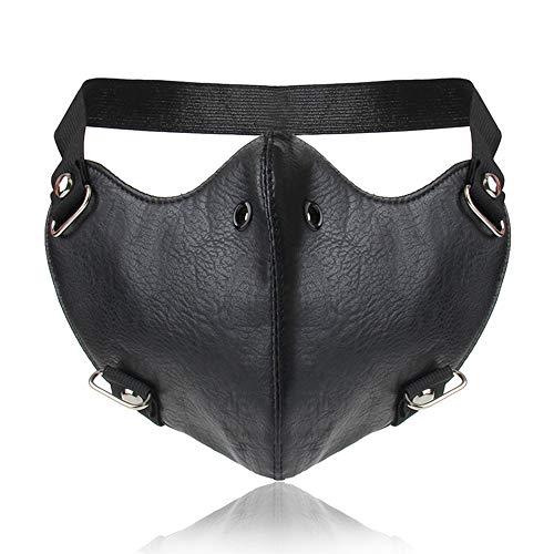 Lcdy maschera personalizzata in pelle calda maschera locomotiva a rivetti punk maschera decorativa per uomini e donne,black,24 * 15cm